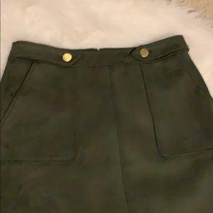 LOFT Skirts - Loft Olive Green Faux Suede Size 8 Skirt
